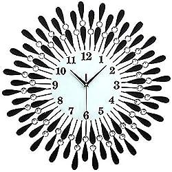 JXSHQS Clock Large Diamond Luxury Living Room Wall Clock Iron European Modern Fashion Creative Personality Mute Watch Black Restaurant Wall Clock