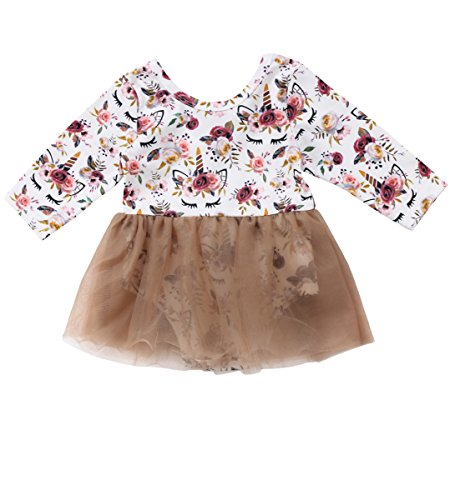 Greenafter Newborn Baby Girls Unicorn Floral Romper Tutu Dress Outfit Clothing (Light Brown, (Retro Baby Clothes)