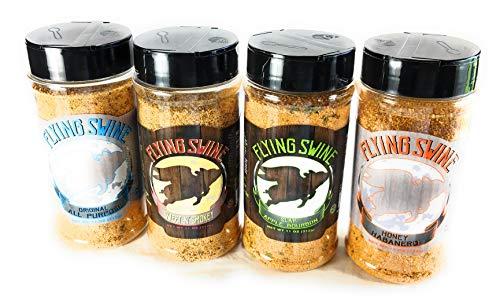 Flying Swine Rub Gift Set 4 Pack - Great For a Butt Rub, Seasoning, Grilling, Smoking Meats, Ribs, Brisket, Chicken, Pork