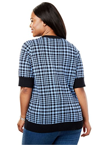 Women's Plus Size Perfect Short Sleeve Cardigan French Blue Gingham Plaid,1X by Woman Within (Image #2)