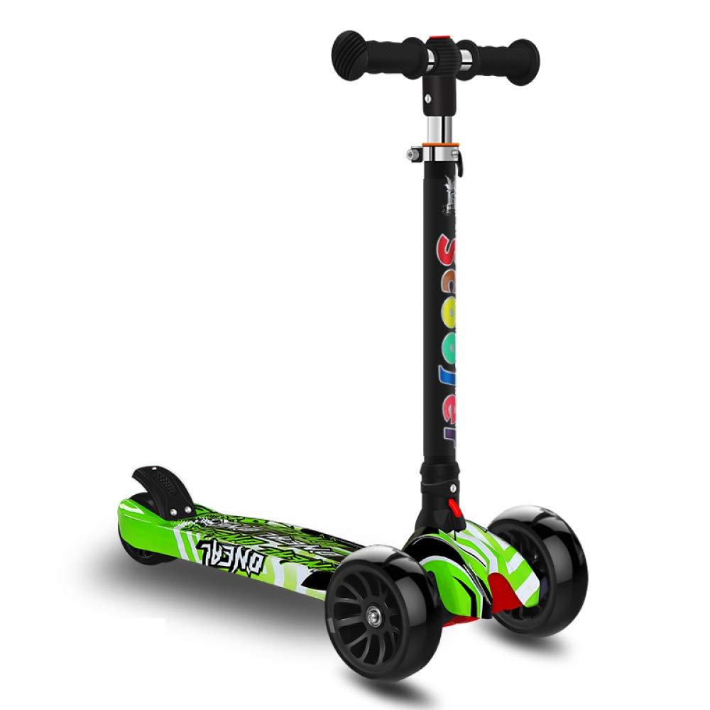 CDREAM Kinderscooter Dreirad Mit Verstellbarem Lenker Kinderroller Roller Scooter Blinken Für Kinder Ab 2-14 Jahren Bis 100kg Belastbar Grün