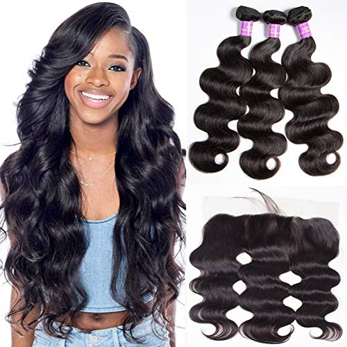 Star Show 9A Brazilian Hair Body Wave Bundles with Frontal Closure 13X4 Pre Plucked Closure with Baby Hair 8A Unprocessed Virgin Human Hair Extensions 22 24 26 with 18 Inch Frontal