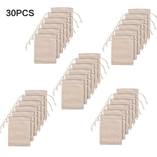 Pack of 30PCS 3.2x4 Inch Double Drawstring Cotton Cloth Bag For Small Jewelry Bracelet Beads Spice Gift Bags (Small Cloth Bags)