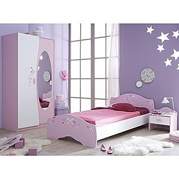 Kinderzimmer AVA 3 Teilig Rosa Weiß Mädchen Bett Nachtkommode  Kleiderschrank Kinderbett Nako Nachtschrank Schrank Jugendzimmer