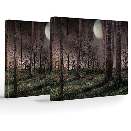 iPrint 2 Panels Stretched Canvas Framed Wall Art,Gothic,Modern