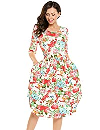 Meaneor Women Half Sleeve Flower Print Midi Dress with Pockets