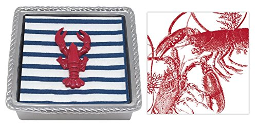 Mariposa Rope Napkin Box with Red Lobster Napkin Weight & 2 sets of - Mariposa Lobster
