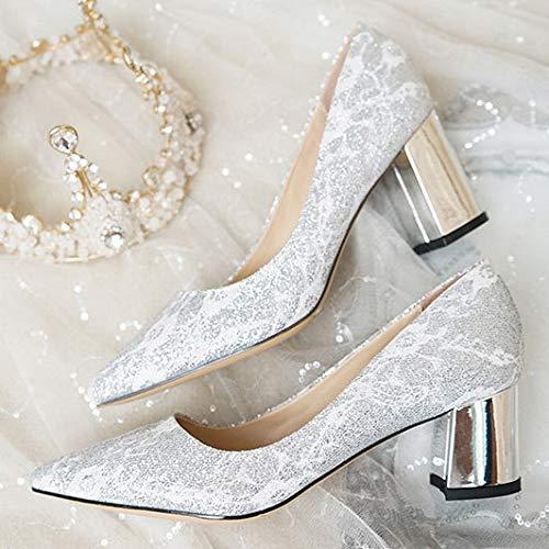 Simple La y con de 449 7cm la Puntera Lentejuelas 7cm Elegante diseño Puntiagudo tacón Alto de Plata Llena decoración Silver de 5cm Mujer de qrwFZq