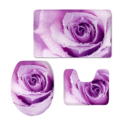 chaqlin Stylish Purple Rose 3 Piece Bath Rug Set with Flannel Bathroom Mat and Toilet Cover -