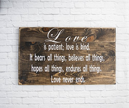 - Bible Verse Wall Art - Love is patient sign - Wood Sign Sayings - Wedding gift - Inspirational Sayings and Quotes