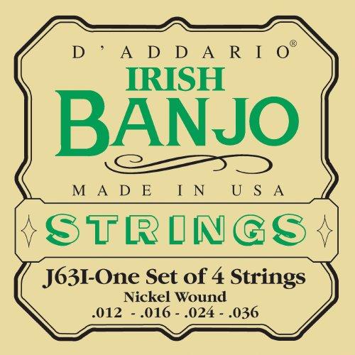 D'Addario J63i Irish Tenor Banjo Strings, Nickel, 12 - 36 (Strings Banjo Tenor)