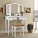 corner makeup vanity table Harper & Bright Designs Vanity Set Make-up Dressing Table with Mirror and Cushioned Stool (white)