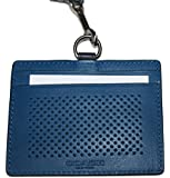 COACH MEN'S ID LANYARD IN PERFORATED LEATHER Denim Blue $95.00