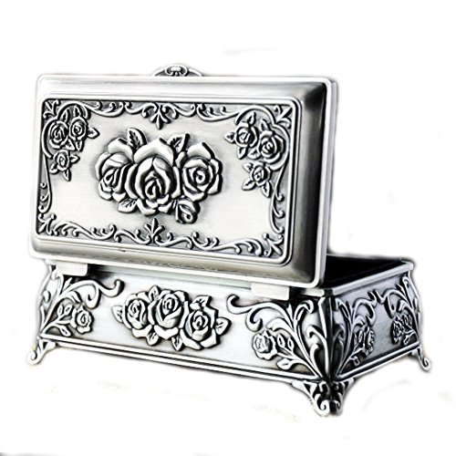 Vintage Antique Rectangle Shape Rose Flower Engraving Metal Trinket Jewelry Box Silver Ring Storage Organizer Case Wedding Christmas Valentines Gift - Bedroom Metal Armoire