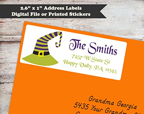 Stationery Hat (Halloween Witches Hat Return Address Labels, Halloween Address Stickers, Address Labels)