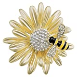 sourjas Beautiful Women's Daisy Flower and Bee Brooch Gold Plate Cute Fashion Pins Party Daily Accessory