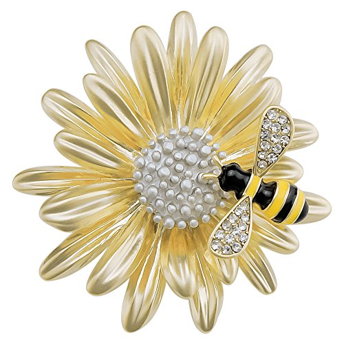 sourjas Beautiful Women's Daisy Flower and Bee Brooch Gold Plate Cute Fashion Pins Party Daily Accessory by sourjas