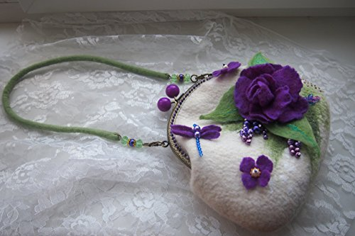 White Purple Felted wool women flower crossbody bag purse bag handbag Wool clutch bag Dragonfly by YuliasFeltworld
