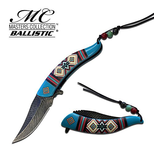"""Price comparison product image 8.25"""" Master Collection Ballistic Blue Feather Spring Assisted Folding Knife Blade Pocket Open Switch- Firefighter Rescue Pocket Knife - Hunting Knives, Military Surplus - Survival and Camping Gear"""