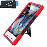 for Sharp Aquos Crystal X 5.5 Hybrid Y Stand Cover Case Stylus Pen ApexGears (TM) Phone Bag. Black Red