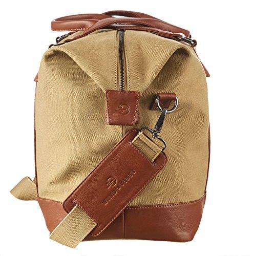 """WIND & VIBES CARMEL """"PINK"""" - Weekender Reisetasche aus Baumwoll Canvas und Echtleder (Handgepäckmaße). Handgefertigte Design Tasche aus sandfarbenem Canvas und Cognac Leder."""