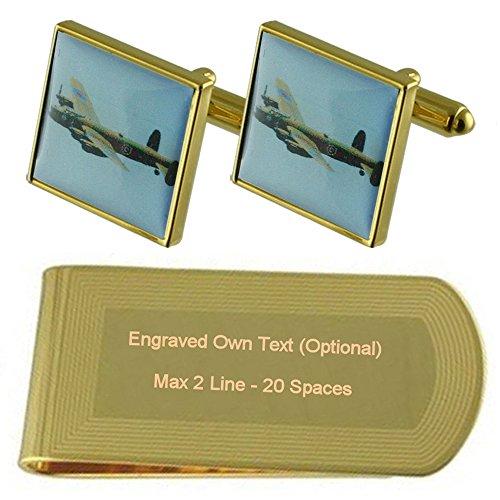 - Bomber RAF Lancaster Gold-tone Cufflinks Money Clip Engraved Gift Set