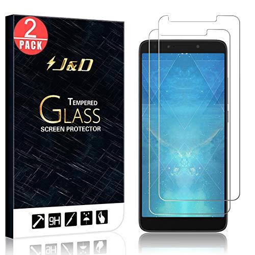 J&D Compatible for 2-Pack Alcatel 7 / Alcatel 7 Folio/Tmobile Revvl 2 Plus Glass Screen Protector, [Tempered Glass] [Not Full Coverage] Ballistic Glass Screen Protector for Alcatel 7 Screen Protector