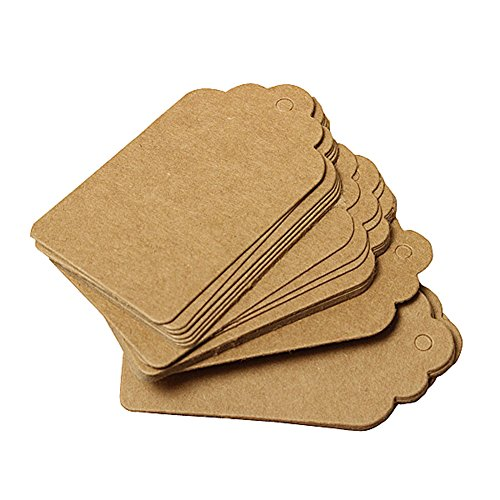 Furnido 100 Pcs Kraft Paper Label hang tag for Party Wedding Birthday Gift Name Cards Christmas Hand-painted bookmarks Jewelry Clothing price tag Greeting card (brown)