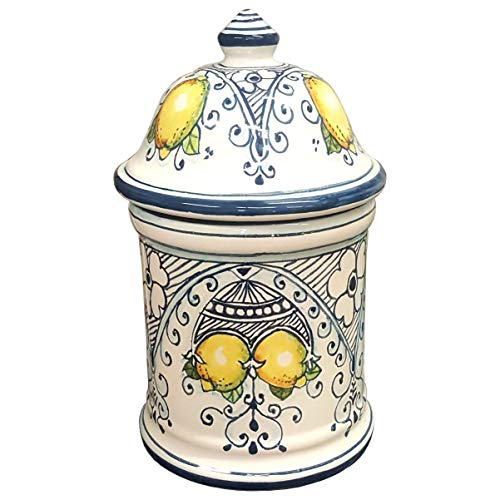 CERAMICHE D'ARTE PARRINI- Italian Ceramic Biscuit Cookies Jar Hand Hand Painted Decorated Lemons Made in ITALY Tuscan Art Pottery ()