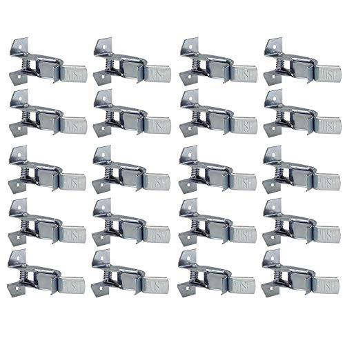 Rake Clip - Wideskall Heavy Duty Metal Gaint Spring Grip Clamp Tool Hanger Wall Orgainzer for Garage Closet Brooms and Mops Wall Mount Holder (Pack of 20)