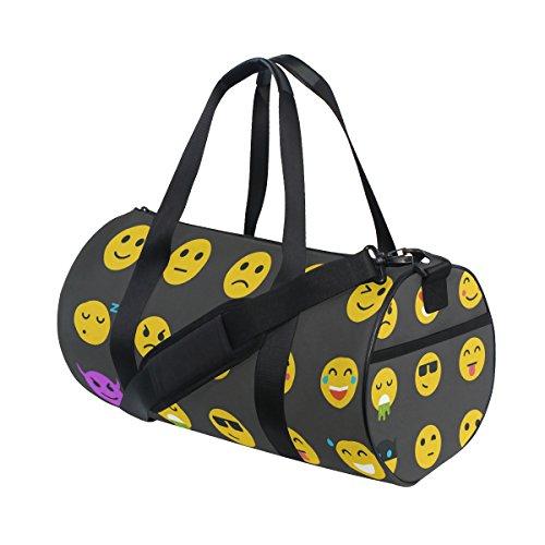 Naanle Flat Yellow Emoji Iocn Smiley Face Black Gym bag Sports Travel Duffle Bags for Men Women Boys Girls Kids