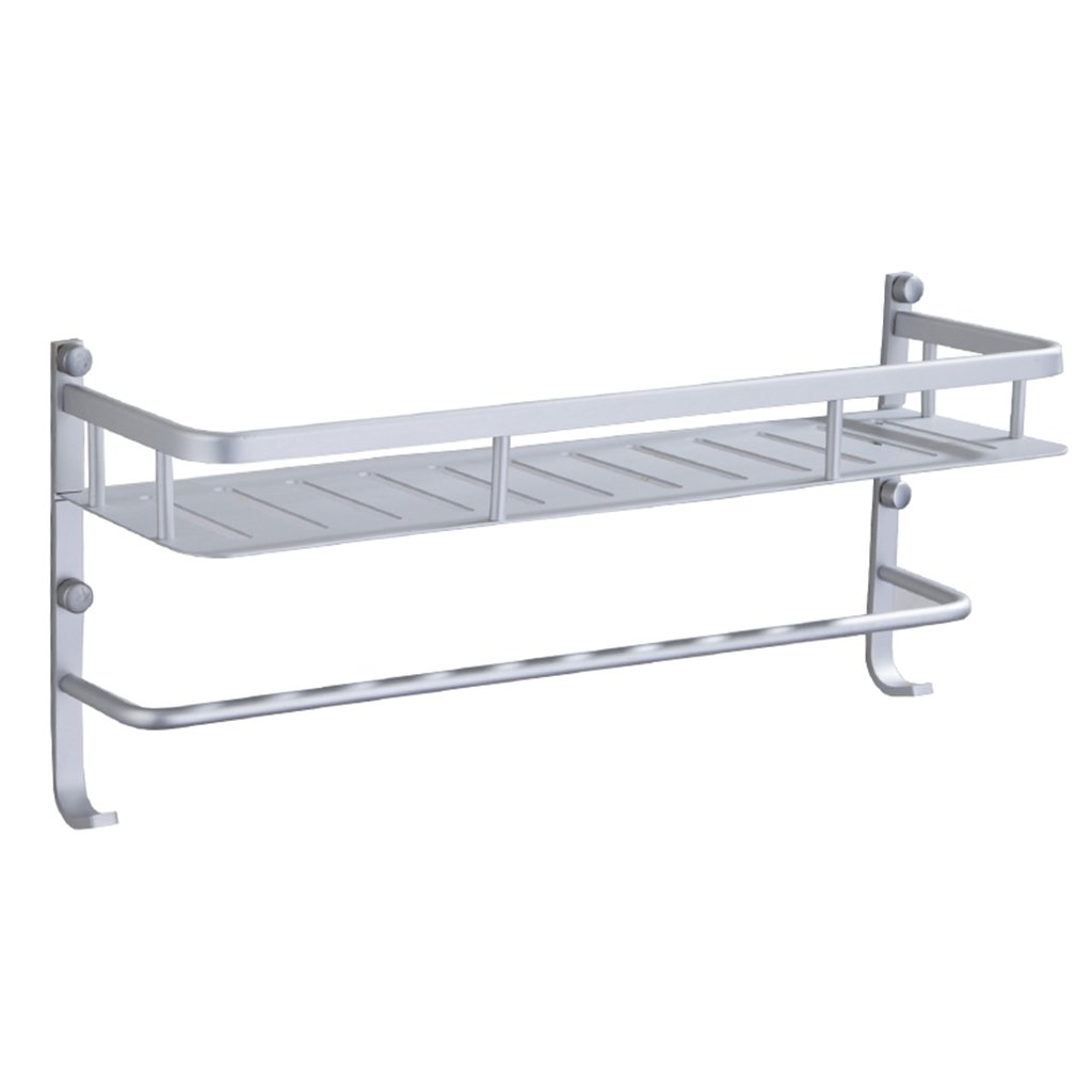 Uus Appendiabiti da bagno monostrato quadrato, cestello da doccia a parete antiruggine con gancio porta asciugamani da bagno in alluminio shelf (dimensioni : S.)