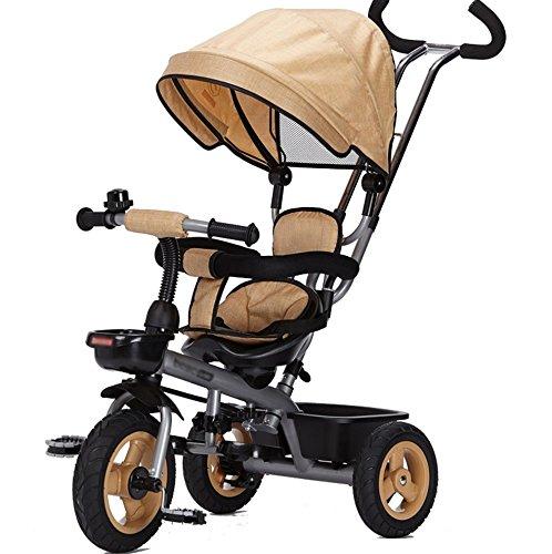 三輪車の赤ちゃんキャリッジバイク子供のおもちゃの車のチタンの空の車輪の自転車3つの車輪、保護的な天井、シートステアリング(ボーイ/ガール、1-3-5歳) (色 : カーキ) B07DVGN775 カーキ カーキ