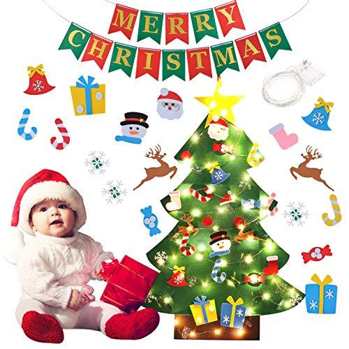 B bangcool DIY Felt Christmas Tree 26Pcs for Kids 3.2ft Wall Hanging Christmas Ornaments for Kids Christmas Wall Decorations (Felt Christmas Tree+String Lights+Merry Christmas Banner]()