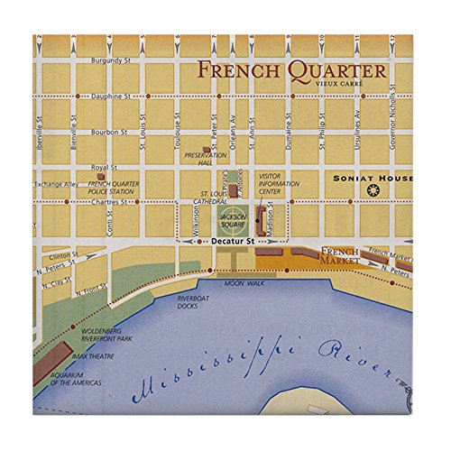 - CafePress - French Quarter Map - Tile Coaster, Drink Coaster, Small Trivet