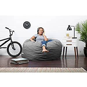 Big Joe Lux Large Fuf Foam Filled Bean Bag Chair, Union, Gray