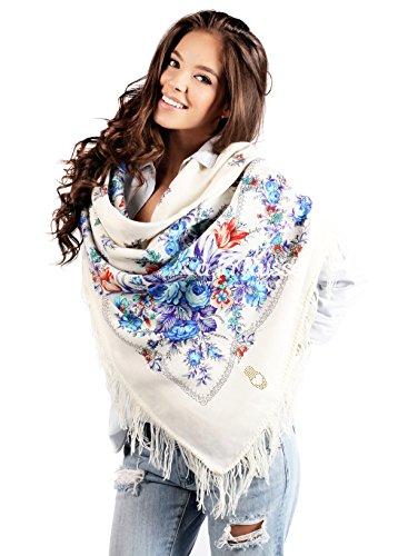 Lyudmila russe écharpe blanc, 100 %  coton, avec motif paisley et motif fleurs foulard avec franges et de qualité supérieure 100 %  original, de très bonne qualité