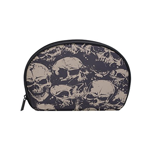 ALAZA Retro Skull Half Moon Cosmetic Makeup Toiletry Bag Pouch Travel Handy Purse Organizer Bag for Women Girls
