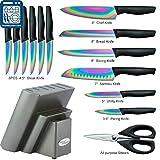 DISHWASHER SAFE KYA25 Rainbow Titanium Knife Block
