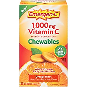 Emergen C Chewable (40 Count, Orange Blast Flavor) Dietary Supplement Chewable Tablet with 1000mg Vitamin C & Vitamin B6, Energy, Antioxidants