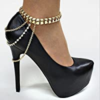 AKOAK 2 Pcs/Pair Adjustable Heel Chain Punk Style Tassel Gold Tone Crystal Summer Style Chain High Heel Ankle Bracelet Anklet for Women Girls