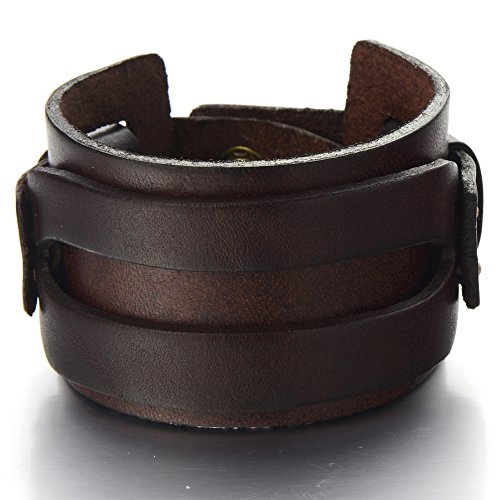 Leather Bracelet Genuine Wristband Accents