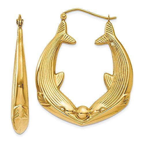 14K Yellow Gold 6.00MM Dolphin Hoop Earrings