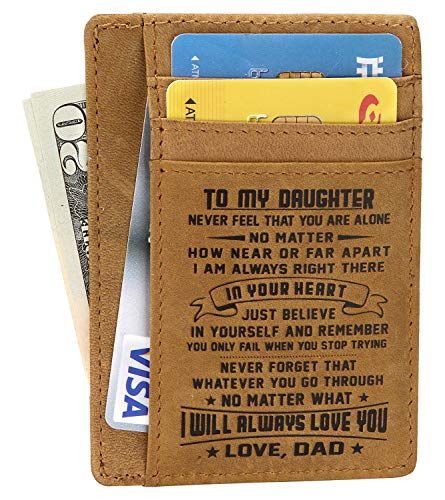 - Minimalist Wallets Gift for son daughter from Dad Slim Wallet RFID Front Pocket Wallet