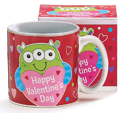 Happy Valentine's Day Coffee Mug/cup with 3-eyed Monster Inexpensive Gift
