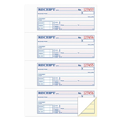 TOPS Money/Rent Receipt Book, 2-Part, Carbonless, 11 x 7-5/8 Inches, 4 Receipts/Page, 200 Sets per Book (46806)