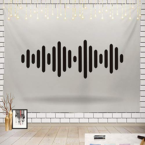 Batmerry Wave Tapestry, Sound Wave Abstract Music Color Black Modern Musical Pattern Picnic Mat Beach Towel Wall Art Decoration for Bedroom Living Room Dorm, 51.2 x 59.1 Inches, Black