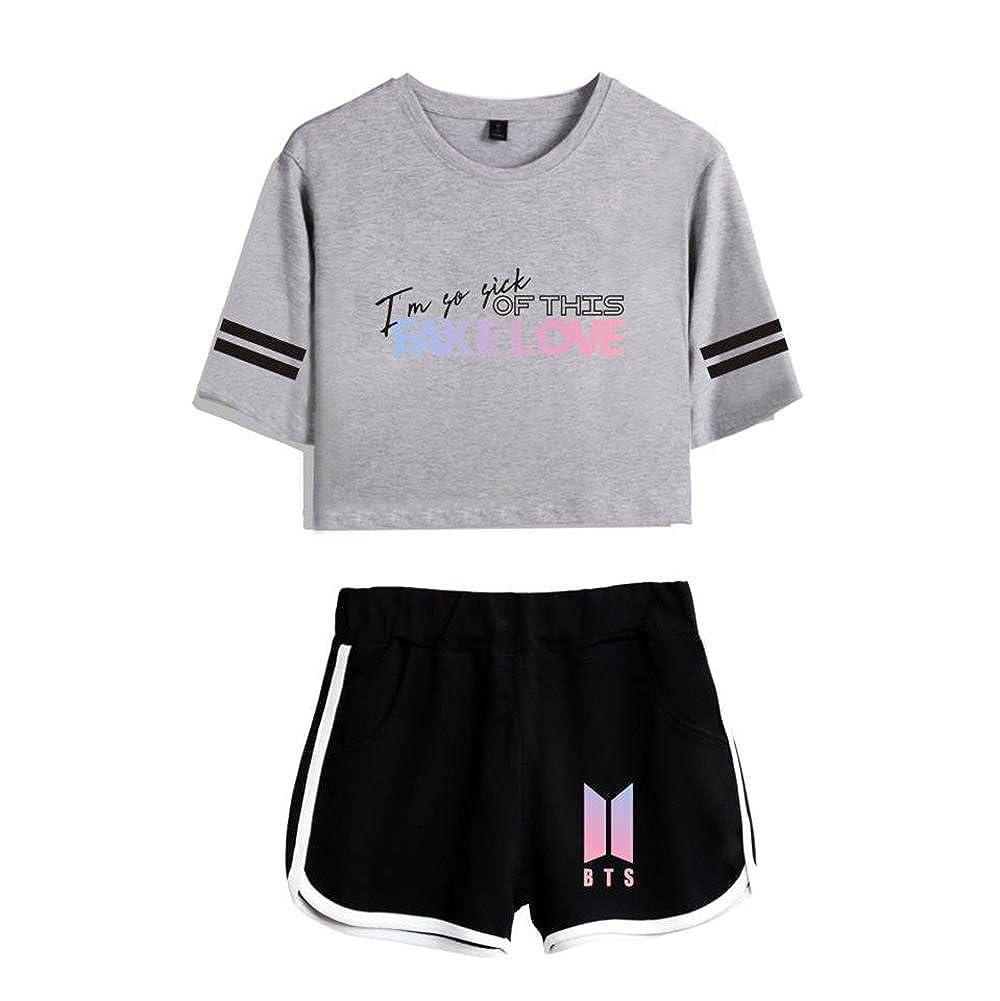 TALLA S. EnjoyYourLife BTS Camiseta Set Expuestos Pantalones Cortos Ombligo Traje De La Camiseta BTS Crop Top T-Shirt