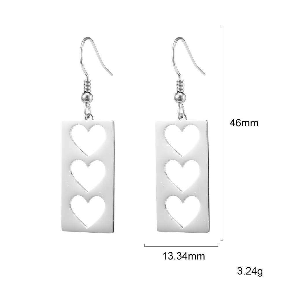 fishhook Rectangle Earrings Heart Earrings Delicate Geometric Hollow Stainless Steel Drop Earrings for Women Mom Girls Lover Grandma Best Friend
