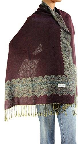 - Women's Woven Double Side Pashmina Shawl Wrap Scarf 80
